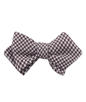 Cappuccino Houndstooth Brown Linen Diamond Self Bow Tie