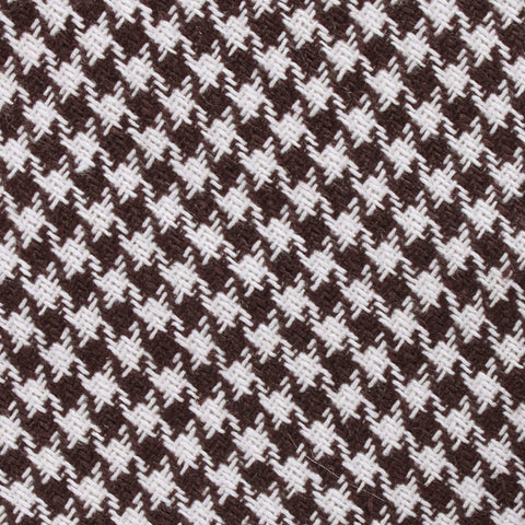 Cappuccino Houndstooth Brown Linen Diamond Bow Tie