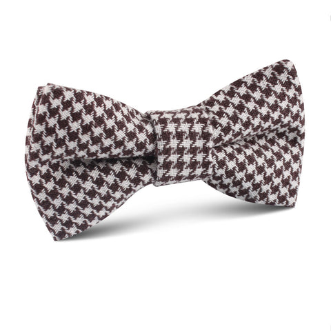 Cappuccino Houndstooth Brown Linen Kids Bow Tie