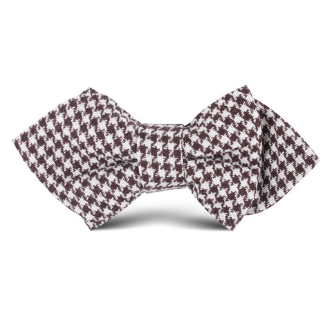 Cappuccino Houndstooth Brown Linen Kids Diamond Bow Tie