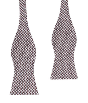 Cappuccino Houndstooth Brown Linen Self Bow Tie