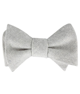 Capri Grey Tweed Striped Linen Self Bow Tie