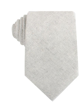 Capri Grey Tweed Striped Linen Necktie