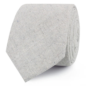 Capri Grey Tweed Striped Linen Skinny Tie