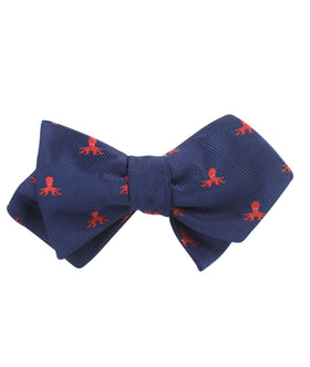 Caribbean Coral Octopus Diamond Self Bow Tie