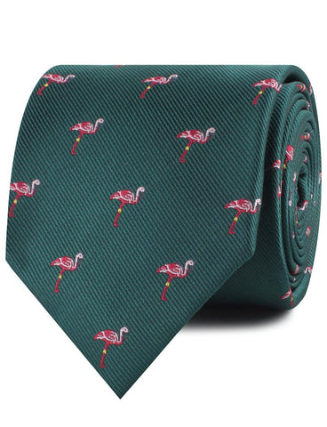 Caribbean Royal Green Flamingo Necktie