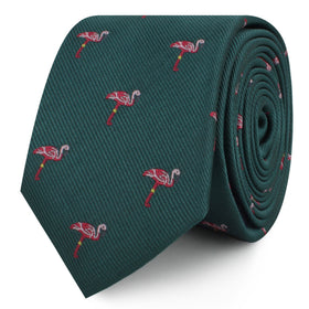 Caribbean Royal Green Flamingo Skinny Tie