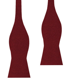 Carmine Burgundy Linen Self Bow Tie