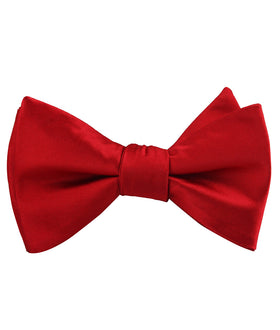 Carmine Red Satin Self Bow Tie