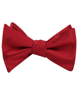 Carmine Red Twill Self Bow Tie
