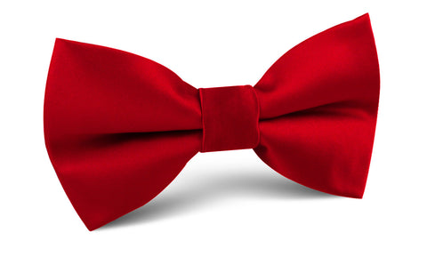 Carmine Red Satin Bow Tie