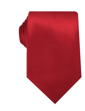 Carmine Red Satin Necktie