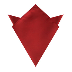 Carmine Red Satin Pocket Square