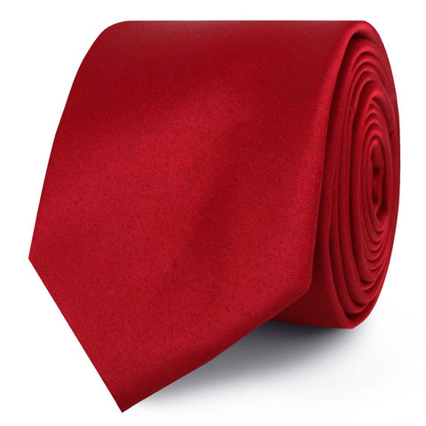 Carmine Red Satin Skinny Tie