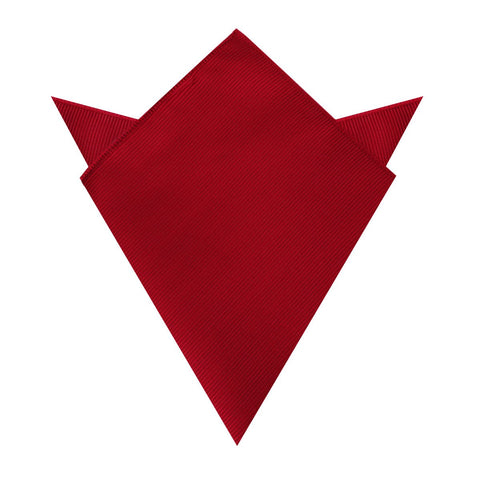 Carmine Red Twill Pocket Square