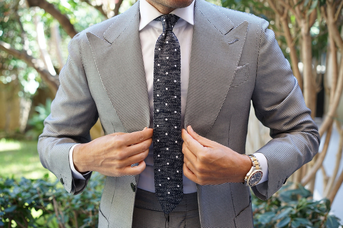 Chambray Navy Polka Dot Knitted Tie
