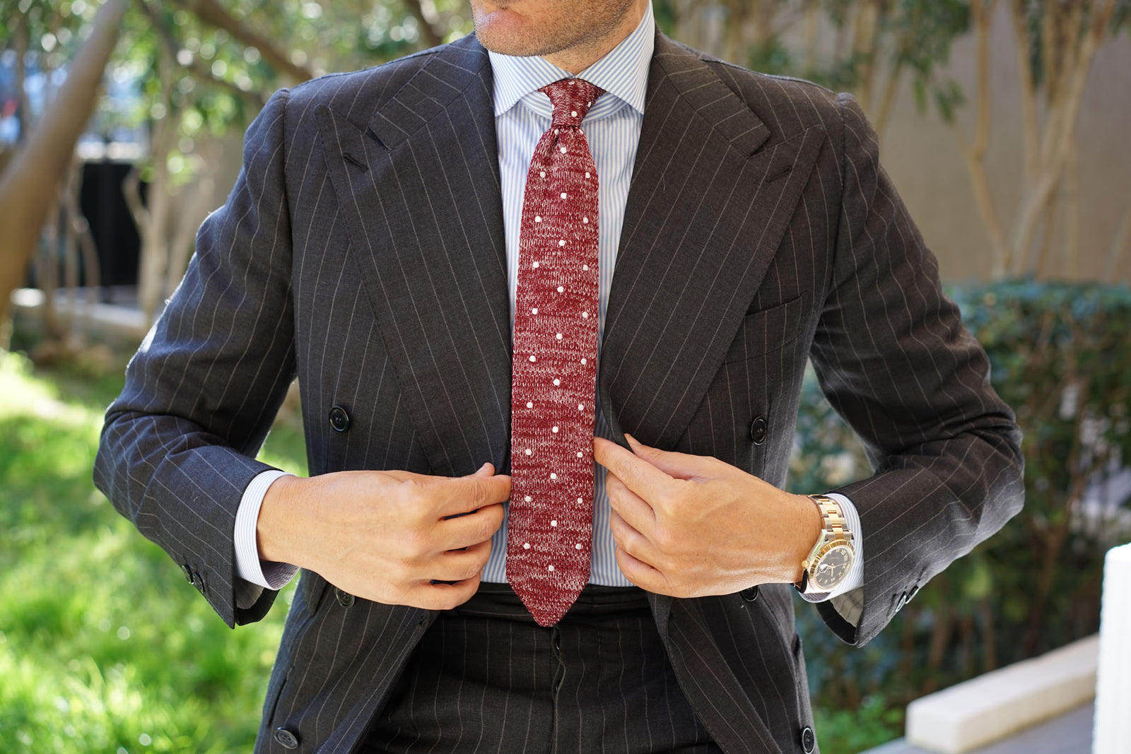 Chambray Red Polka Dot Knitted Tie