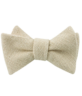 Champagne Basket Weave Linen Self Bow Tie