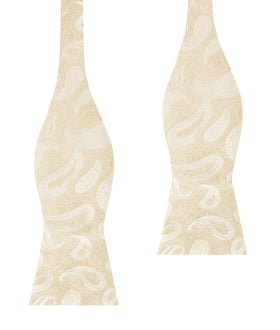 Champagne Desert Paisley Self Bow Tie