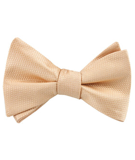 Champagne Gold Basket Weave Self Tied Bow Tie
