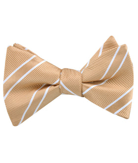 Champagne Gold Double Stripe Self Bow Tie