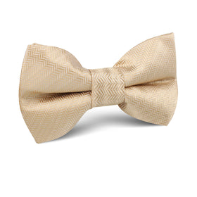 Champagne Gold Herringbone Chevron Kids Bow Tie