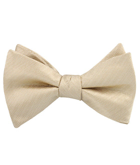 Champagne Gold Herringbone Chevron Self Bow Tie
