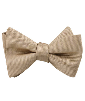 Champagne Gold Metallic Weave Self Bow Tie