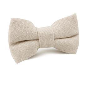 Champagne Ivory Linen Kids Bow Tie