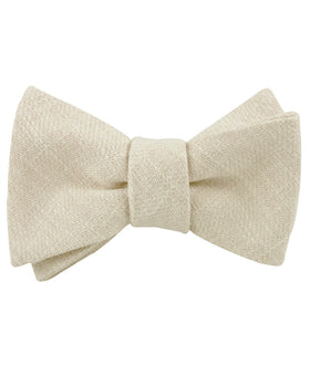 Champagne Ivory Linen Self Bow Tie