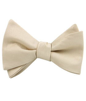 Champagne Satin Self Bow Tie