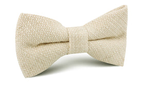 Champagne Basket Weave Linen Bow Tie