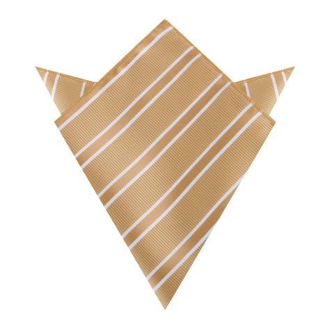 Champagne Gold Double Stripe Pocket Square