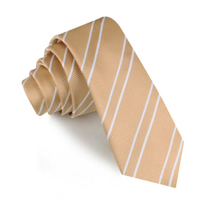 Champagne Gold Double Stripe Skinny Tie