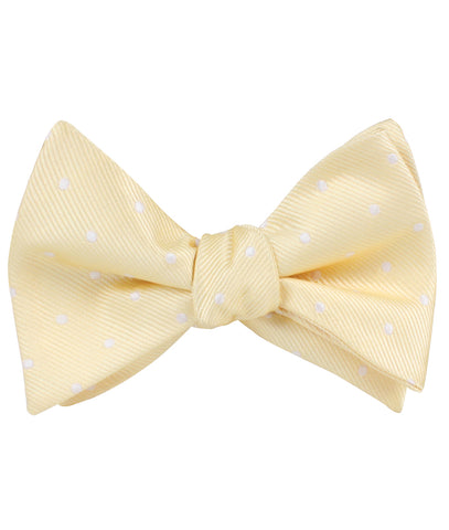 Champagne Polka Dot Self Bow Tie