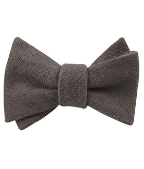 Charcoal Graphite Weave Linen Self Bow Tie