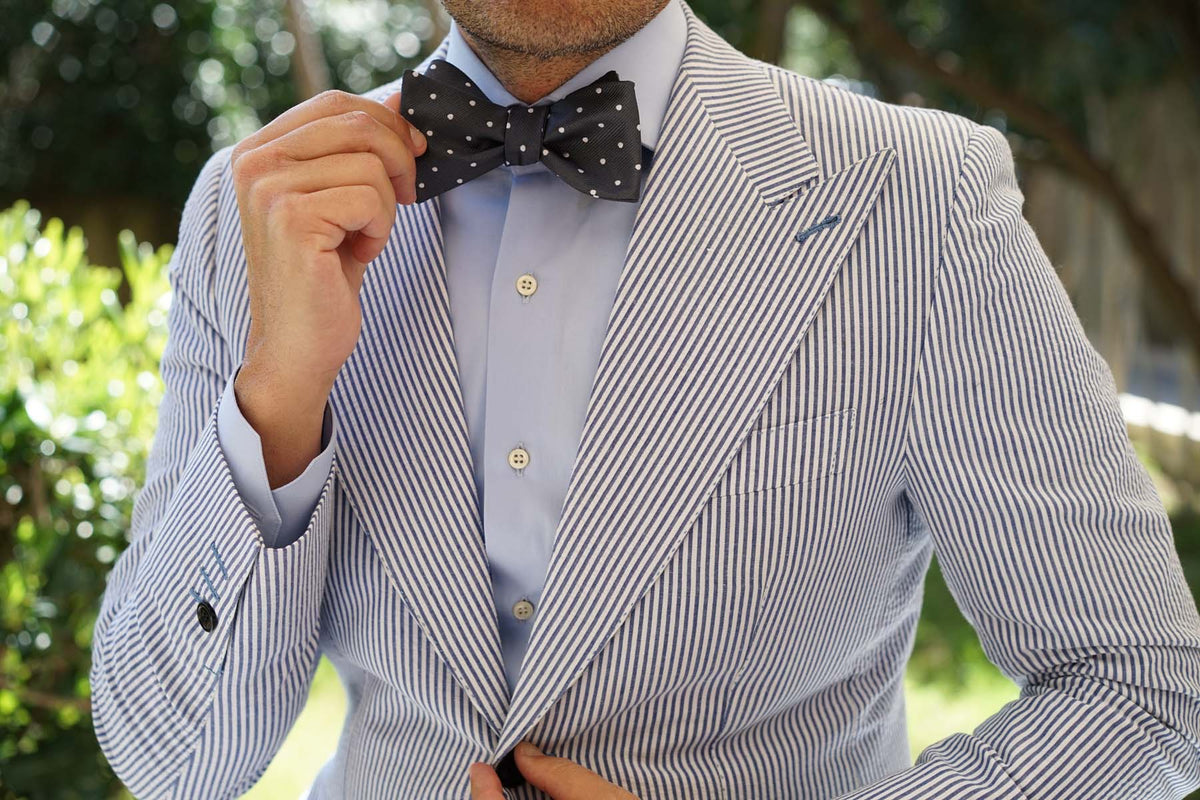 Charcoal Grey with White Polka Dots Self Tie Bow Tie