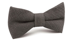Charcoal Graphite Weave Linen Bow Tie