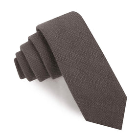 Charcoal Graphite Weave Linen Skinny Tie
