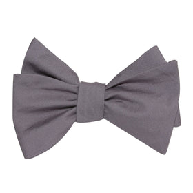 Charcoal Grey Cotton Self Tie Bow Tie