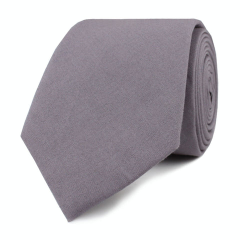 Charcoal Grey Cotton Skinny Tie