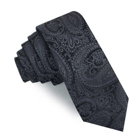 Charcoal Grey Paisley Skinny Tie