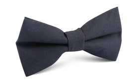 Charcoal Grey Slub Linen Bow Tie