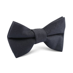 Charcoal Grey Slub Linen Kids Bow Tie
