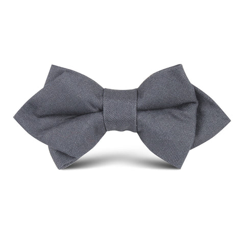 Charcoal Grey Slub Linen Kids Diamond Bow Tie