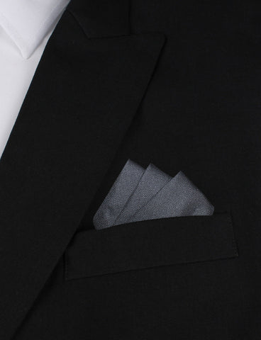 Charcoal Grey Slub Linen Pocket Square