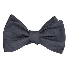 Charcoal Grey Slub Linen Self Tie Bow Tie