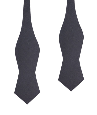 Charcoal Grey Slub Linen Self Tie Diamond Tip Bow Tie