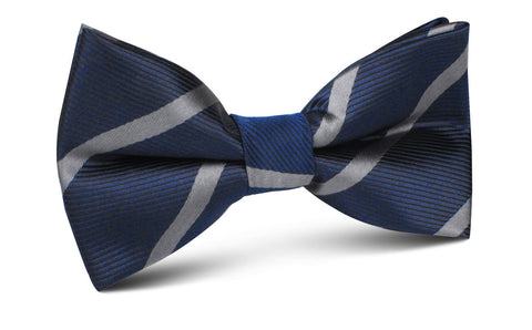 Charcoal Grey Striped Bow Tie