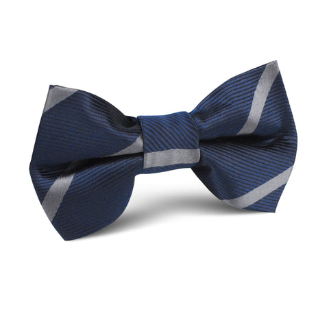 Charcoal Grey Striped Kids Bow Tie